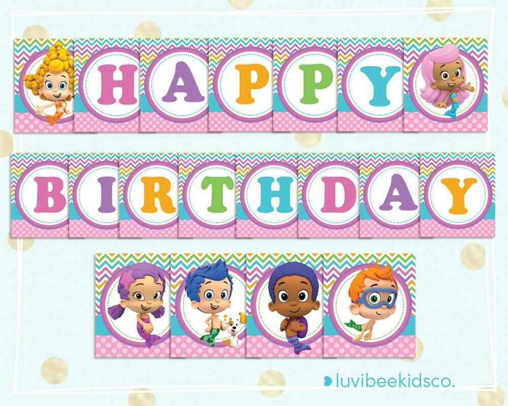 Bubble Guppies Happy Birthday Banner - Printable Pdf Banner Throughout Bubble Guppies Birthday Banner Template