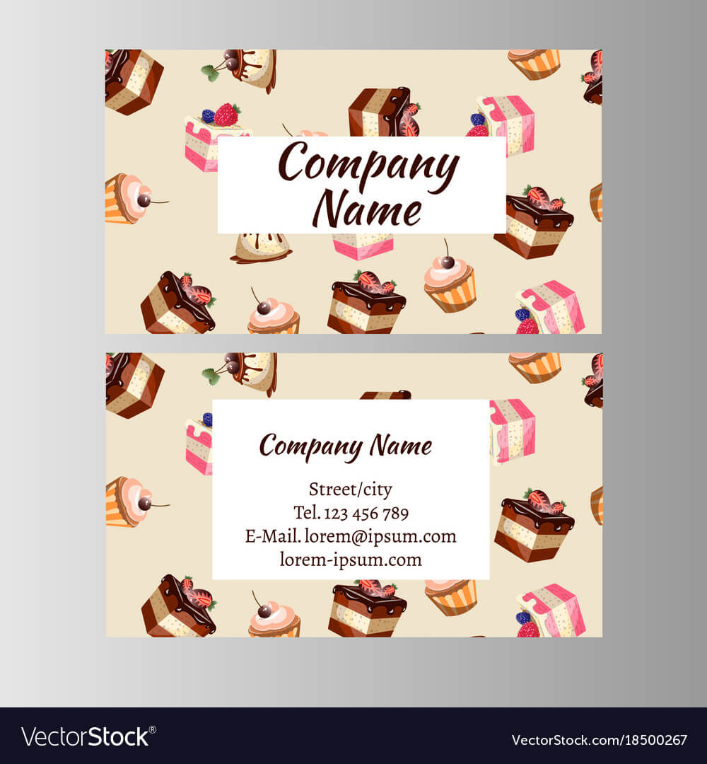 Business Card Design Template With Tasty Cakes For Cake Business Cards Templates Free