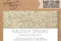 Business Card Template – Light Gold Glitter – Diy Editable in Business Card Template Word 2010