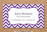 Business Card Template – Purple Chevron – Diy Editable Word throughout Staples Business Card Template Word