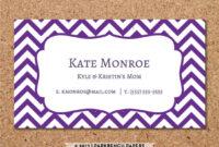 Business Card Template – Purple Chevron – Diy Editable Word with regard to Business Card Template Word 2010