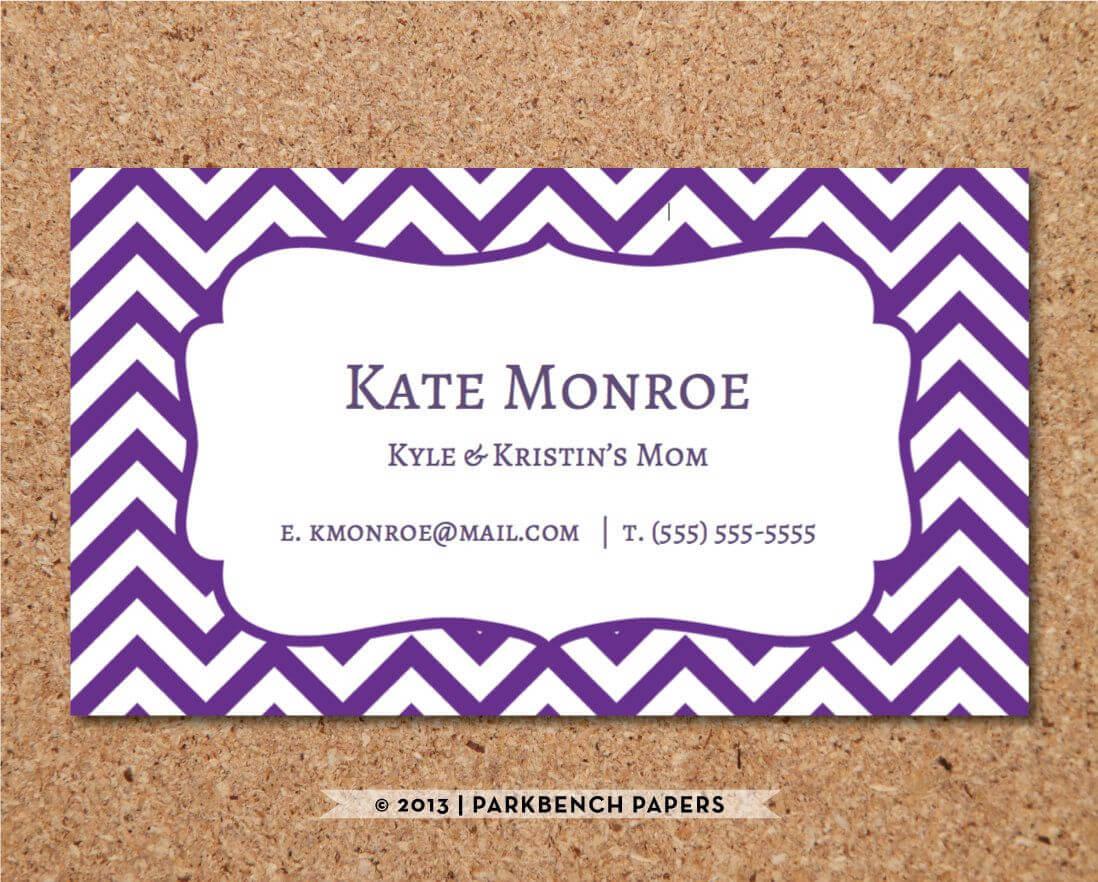 Business Card Template - Purple Chevron - Diy Editable Word With Regard To Business Card Template Word 2010