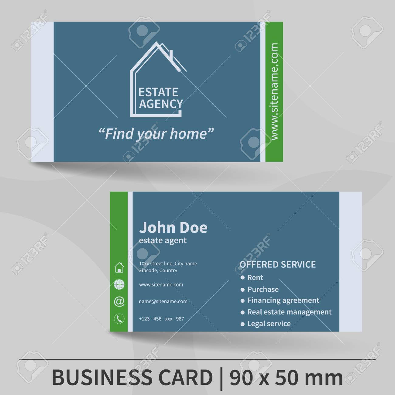 Business Card Template. Real Estate Agency. Design For Your Individual.. Within Real Estate Agent Business Card Template