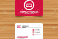 Business Card Template With Texture. Book Sign Icon. Open Book.. in Open Office Index Card Template