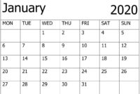 Calendar January 2020 Printable – For Classroom Management with regard to Blank Calendar Template For Kids