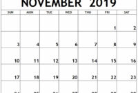 Calendar November 2019 Printable Template – 2019 Calendars throughout Blank Calender Template