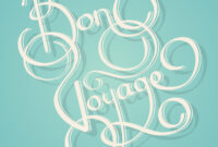 Calligraphy Bon Voyage Text – Download Free Vectors, Clipart intended for Bon Voyage Card Template