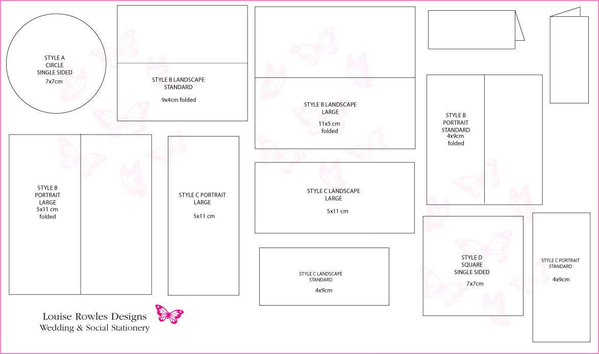 Card Dimensions | Place Cards Sizes & Layouts » Louise Within Place Card Size Template