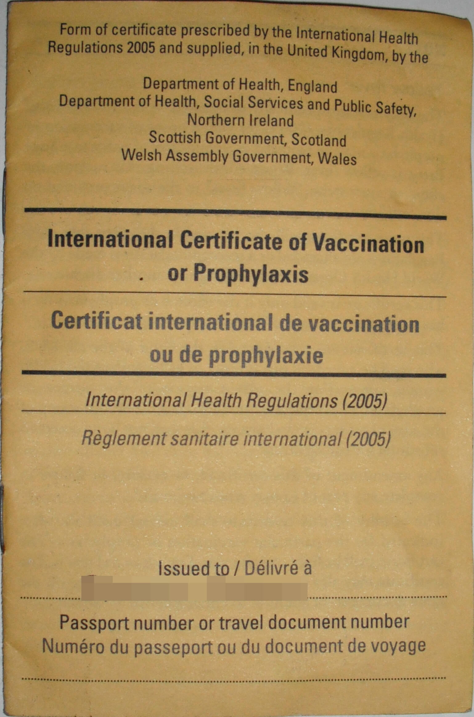 Carte Jaune – Wikipedia Within Certificate Of Vaccination Template