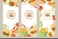 Cartoon Flat Fast Food Banner Template Set for Food Banner Template