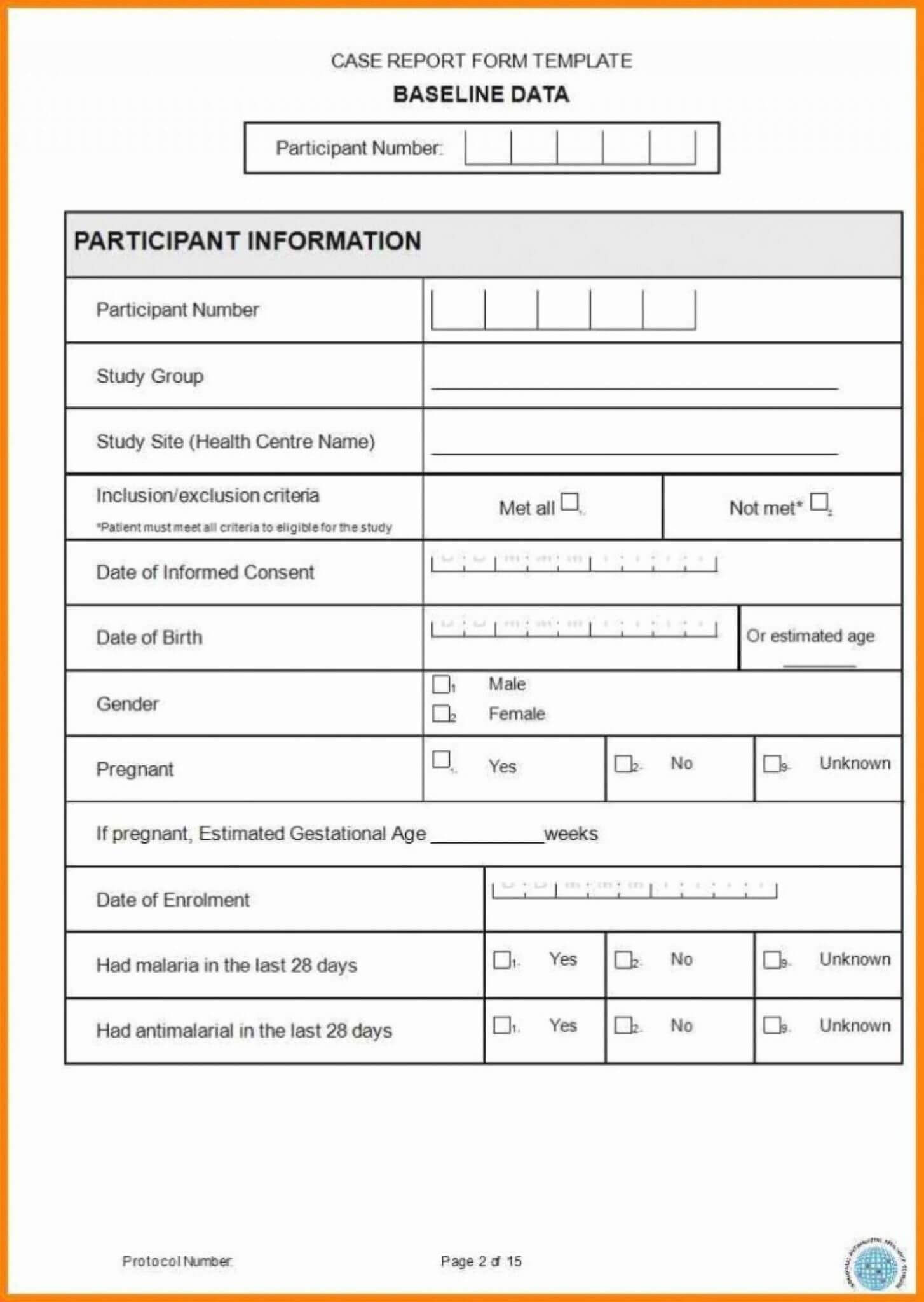 Case Report Form Template Unique Catering Resume Clinical In Trial Report Template