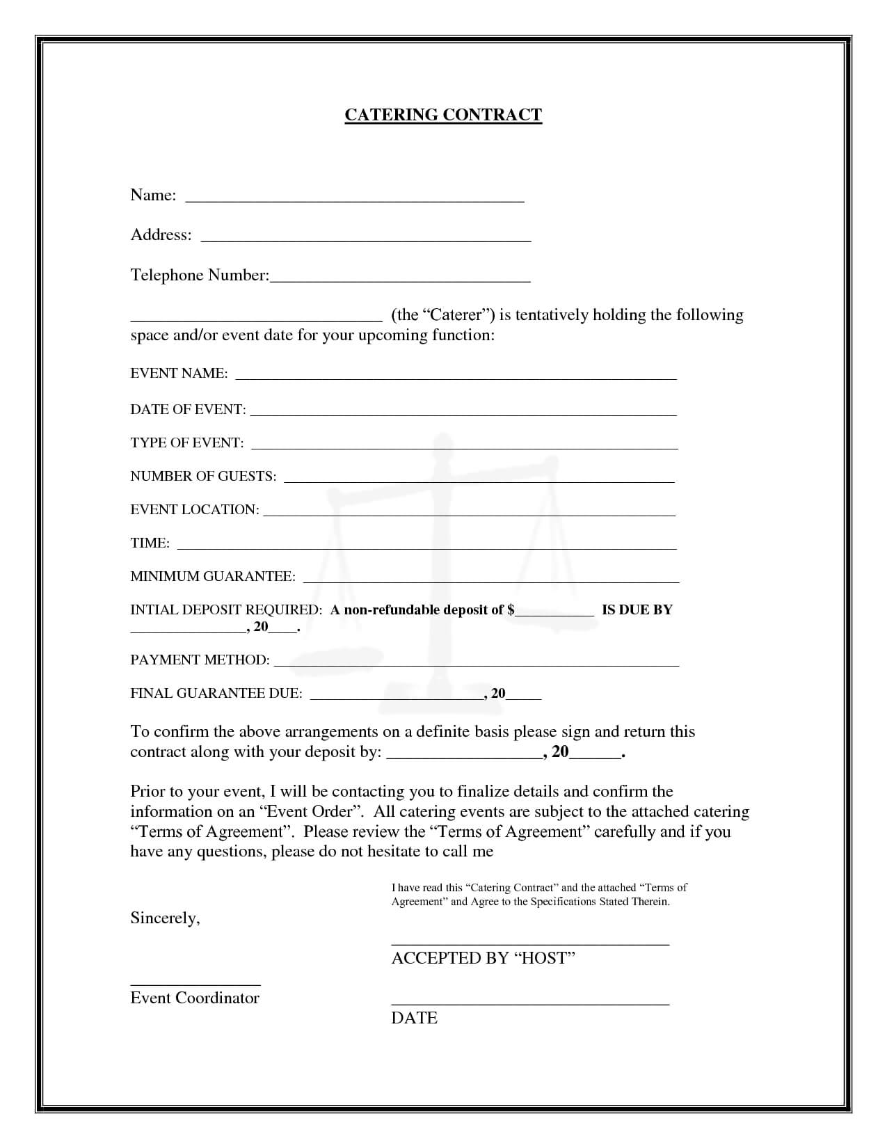 Catering Contract Catering Contract Name | Starting A Within Catering Contract Template Word