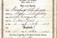 Catholic Baptismal Certificate Template pertaining to Baptism Certificate Template Word