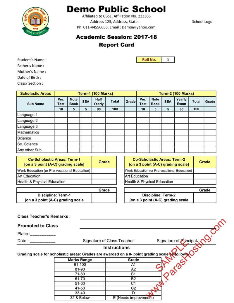 Cbse Report Card Format For Class Vi To Viii | Report Card For Report Card Template Middle School