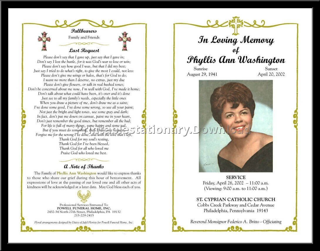 Celebration Of Life Templates For Word Free - Aol Image Within Memorial Card Template Word