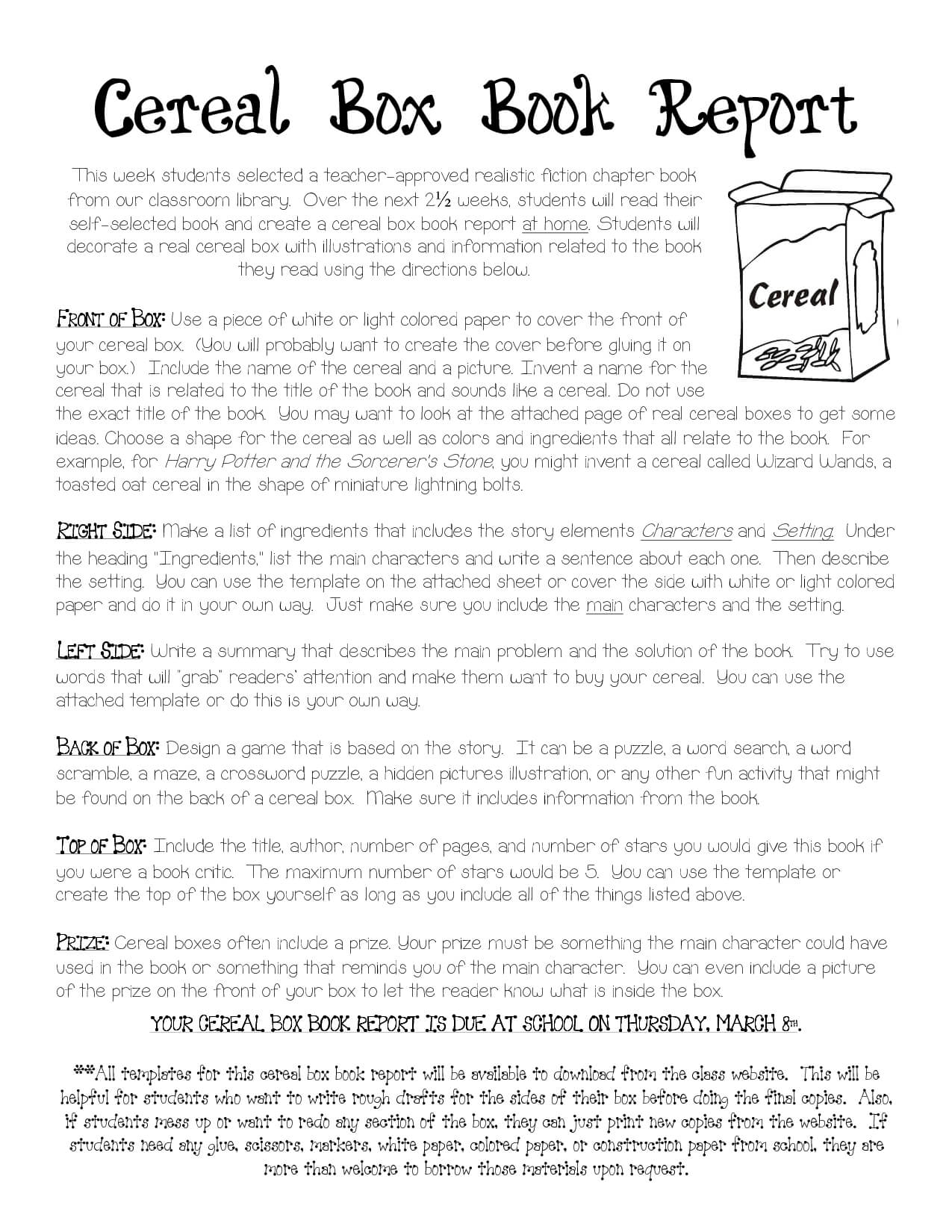 Cereal Box Book Report Instructions | Cereal Box Book Report With Regard To Cereal Box Book Report Template