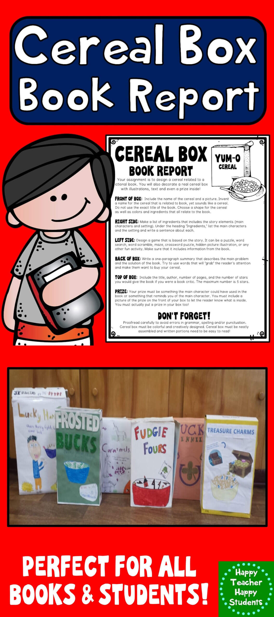 Cereal Box Book Report Template: Directions, Rubric In Cereal Box Book Report Template