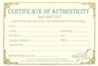 Certificate Authenticity Template Art Authenticity inside Certificate Of Authenticity Template