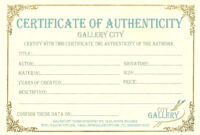 Certificate Authenticity Template Art Authenticity inside Photography Certificate Of Authenticity Template