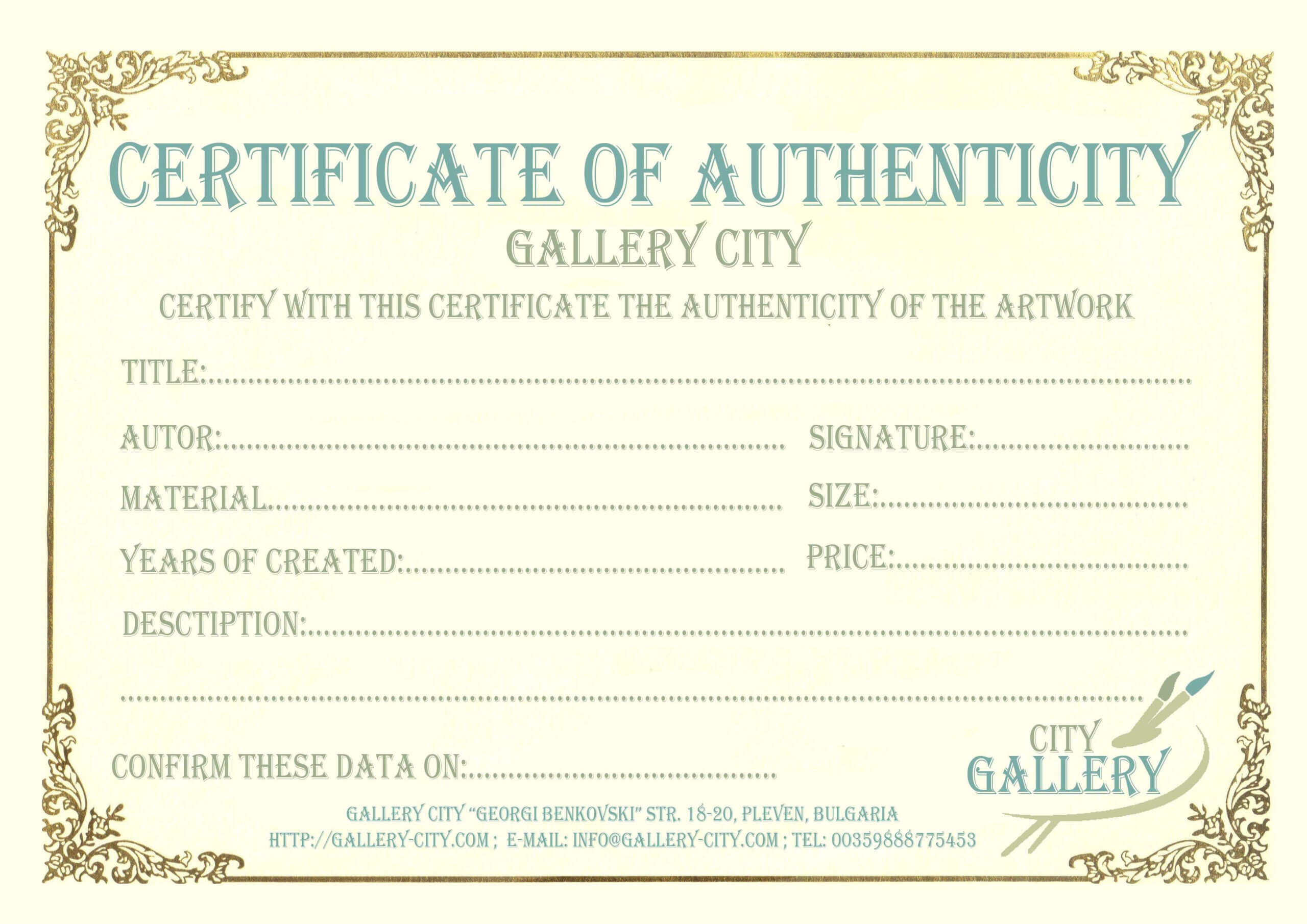 Certificate Authenticity Template Art Authenticity Regarding Mock Certificate Template