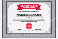 Certificate Completion First Place Award Sign Stock Vector throughout First Place Award Certificate Template