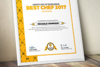 Certificate Design Template For Best Chef Fast Food And with Design A Certificate Template