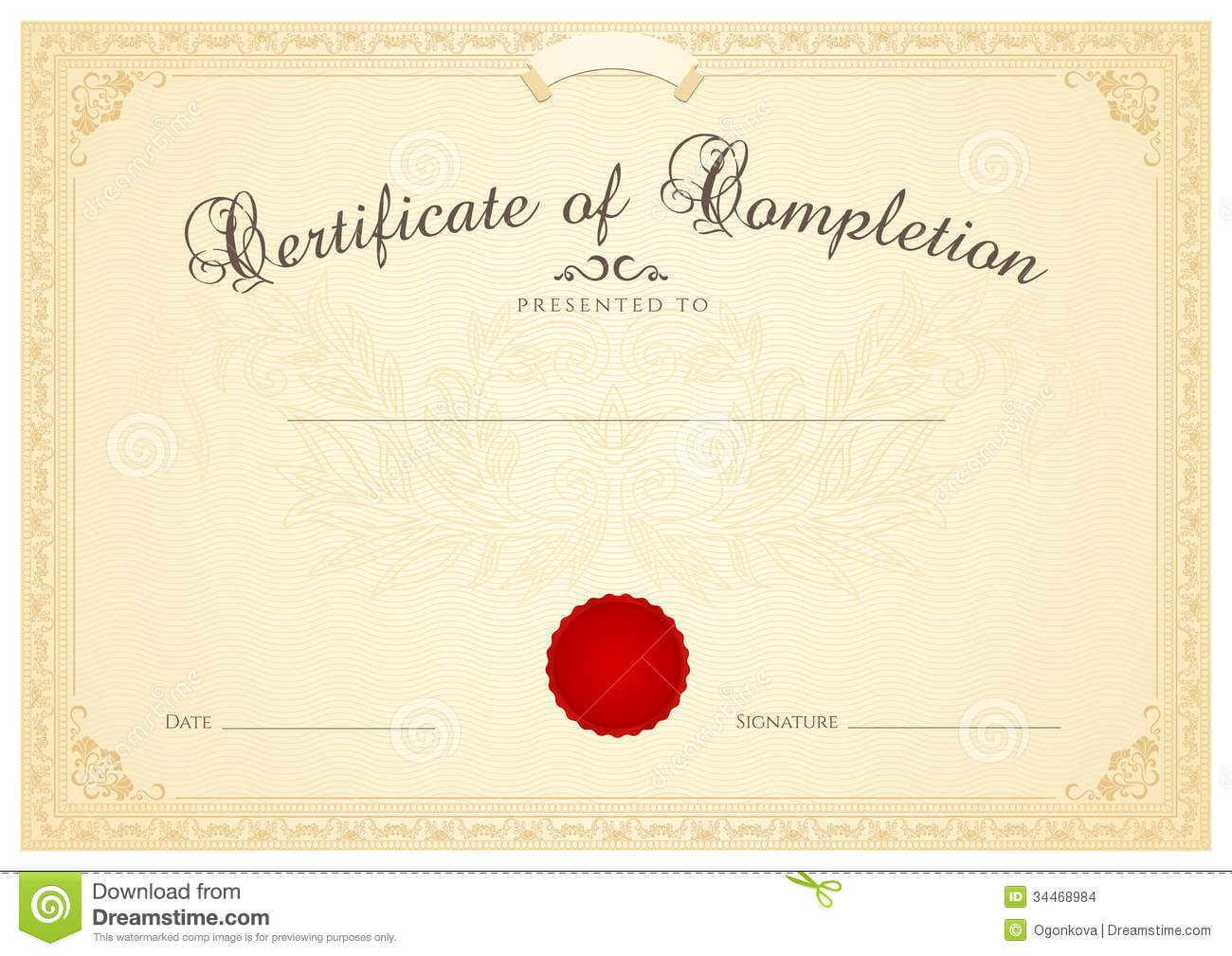 Certificate / Diploma Background Template. Floral Stock For Certificate Scroll Template