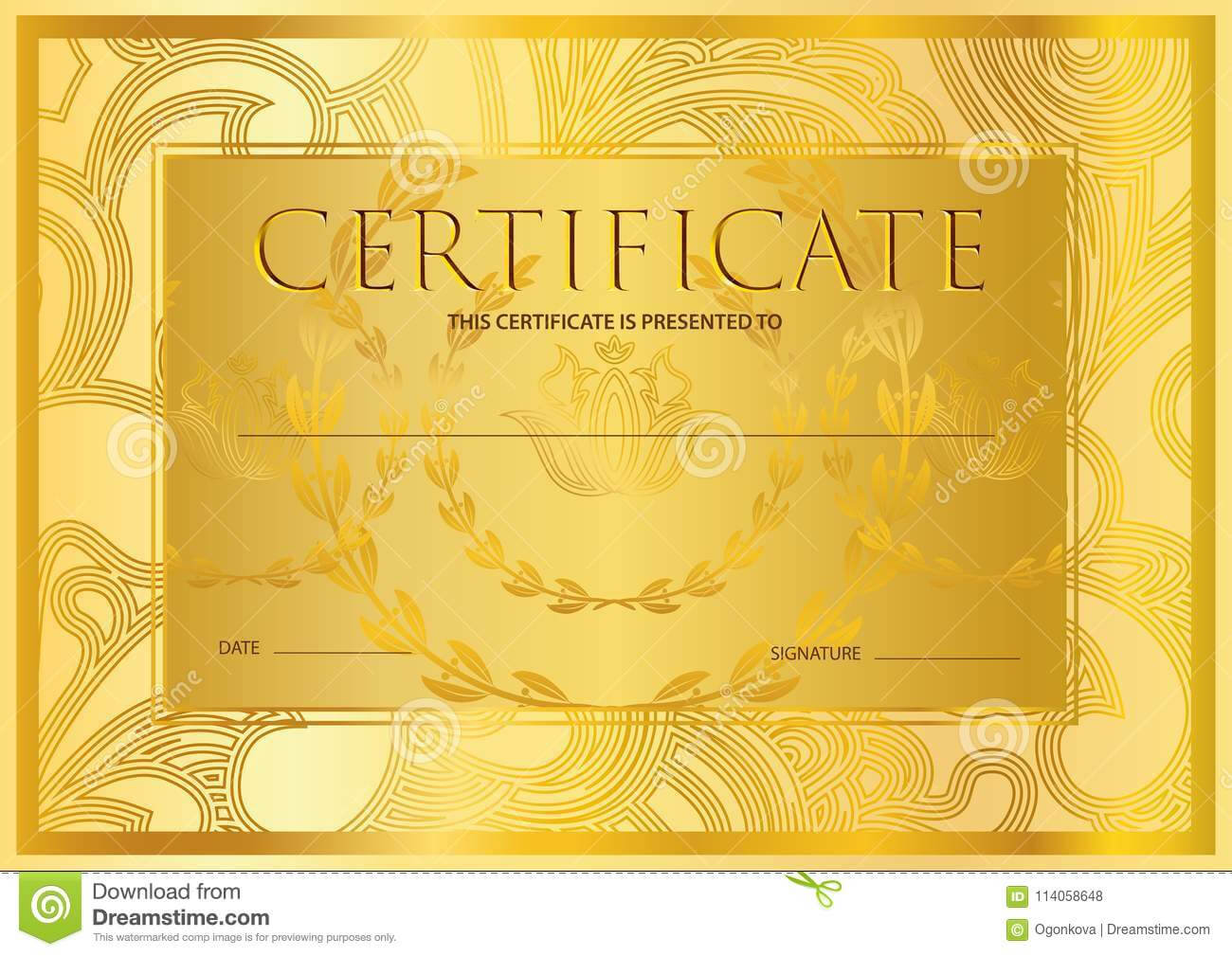Certificate, Diploma Golden Design Template, Colorful For Certificate Scroll Template