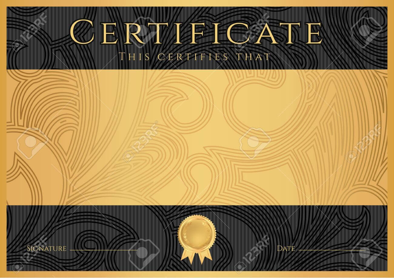 Certificate, Diploma Of Completion Black Design Template Inside Certificate Scroll Template