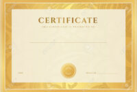 Certificate, Diploma Of Completion Template, Background Gold.. For Certificate Scroll Template