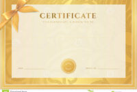 Certificate, Diploma Template. Gold Award Pattern Stock in Scroll Certificate Templates