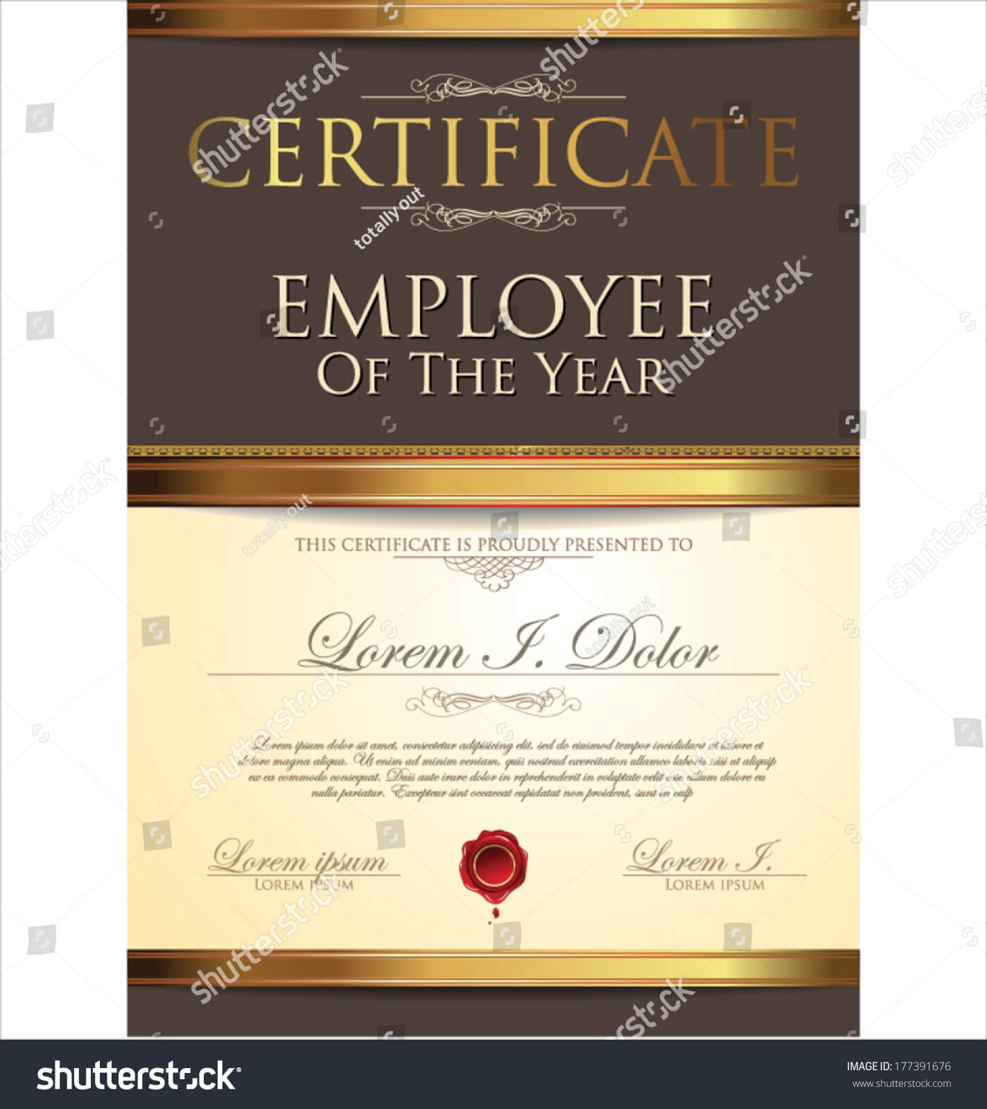 Certificate Employee Year Stock Vector (Royalty Free) 177391676 Regarding Employee Of The Year Certificate Template Free