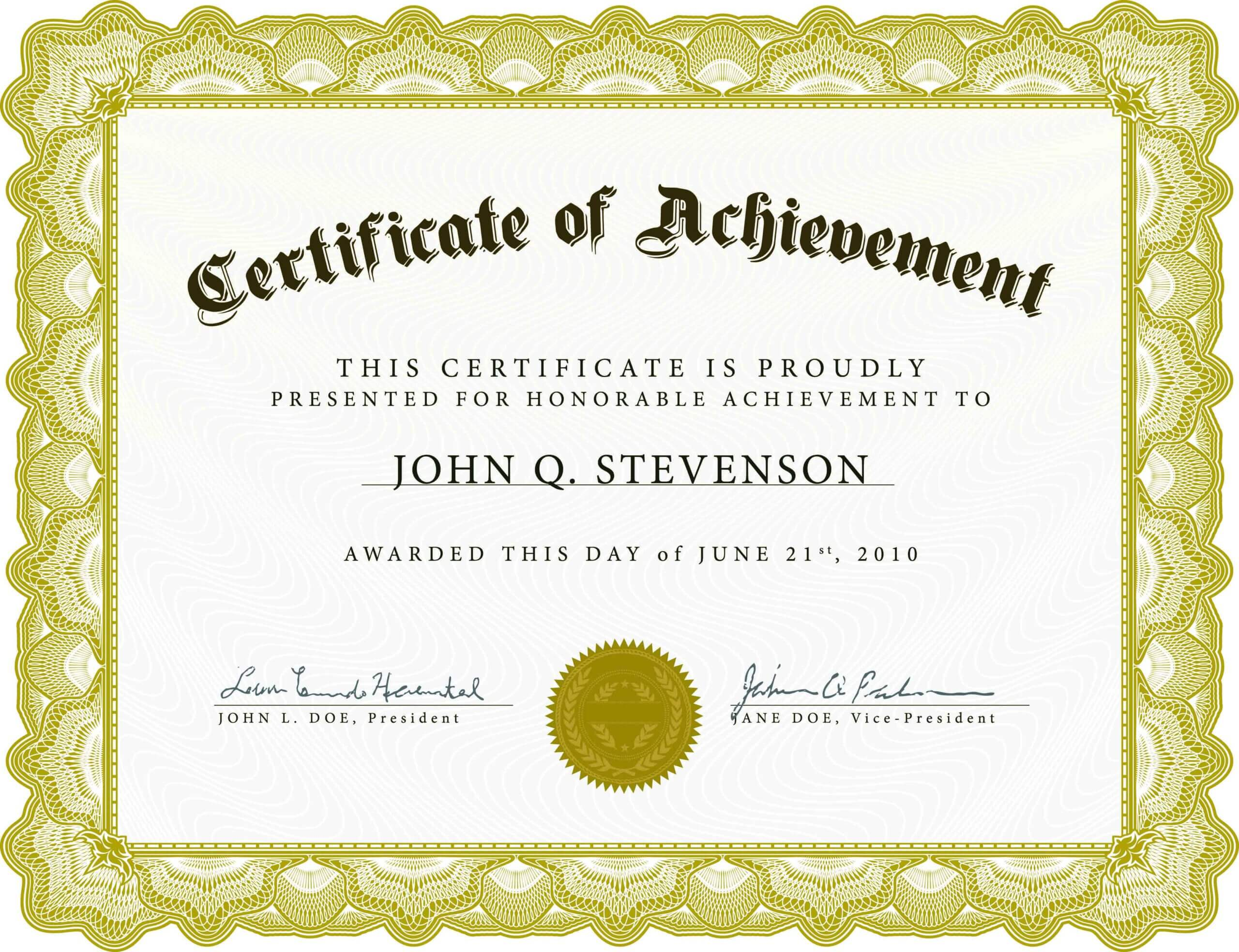 Certificate Of Academic Achievement Template | Photo Stock Regarding Certificate Of Excellence Template Free Download