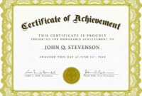 Certificate Of Academic Achievement Template | Photo Stock Within Free Stock Certificate Template Download