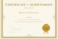 Certificate Of Achievement Template In Gold Theme throughout Certificate Of Accomplishment Template Free