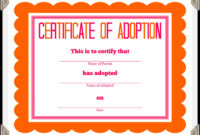 Certificate Of Adoption Template | Certificate Of inside Blank Adoption Certificate Template