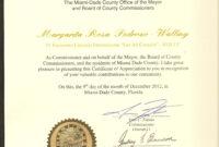 Certificate Of Appreciation-Miami Dade County-2012 regarding Felicitation Certificate Template
