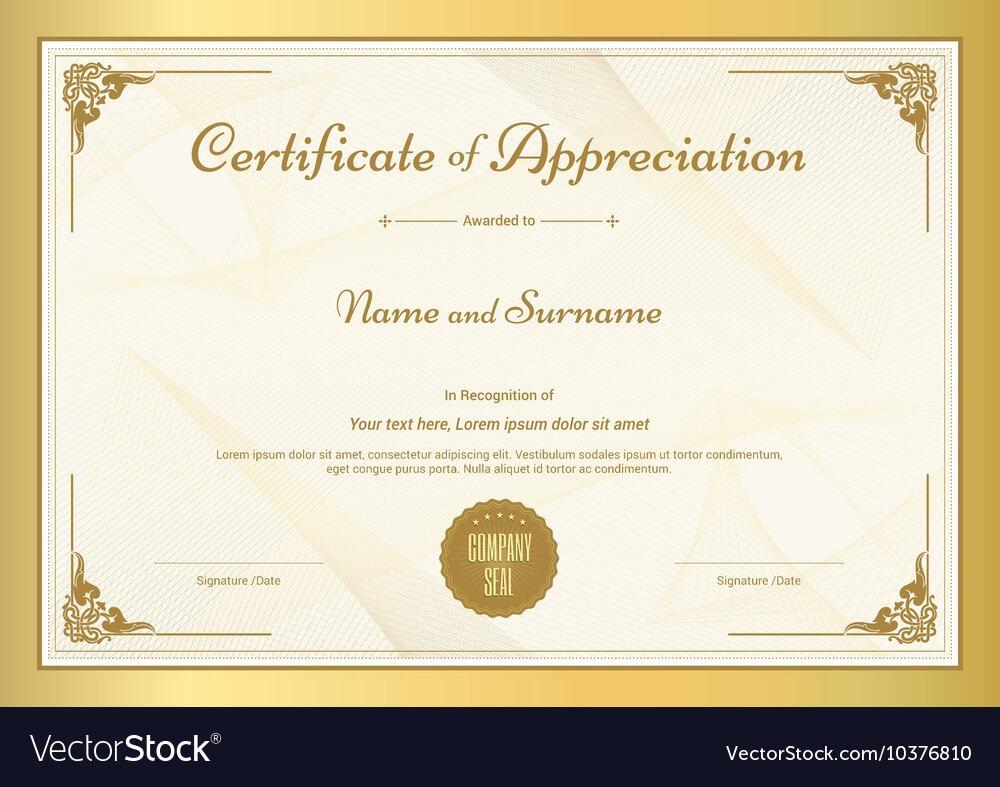 Certificate Of Appreciation Template In Free Certificate Of Appreciation Template Downloads