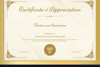 Certificate Of Appreciation Template throughout Certificate Of Excellence Template Free Download
