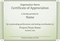 Certificate Of Appreciation – Templates | Certificate Of pertaining to Employee Anniversary Certificate Template