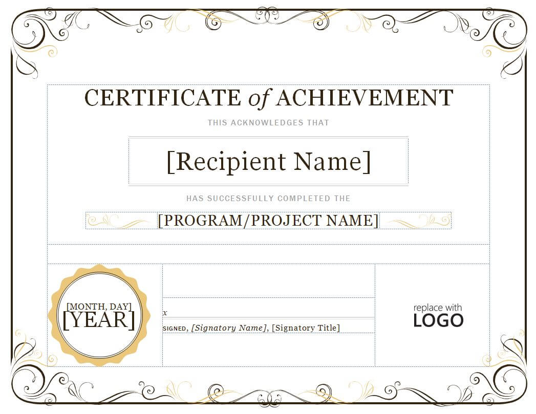 Certificate Of Attainment Template - Diafreetarget With Regard To Certificate Of Attainment Template