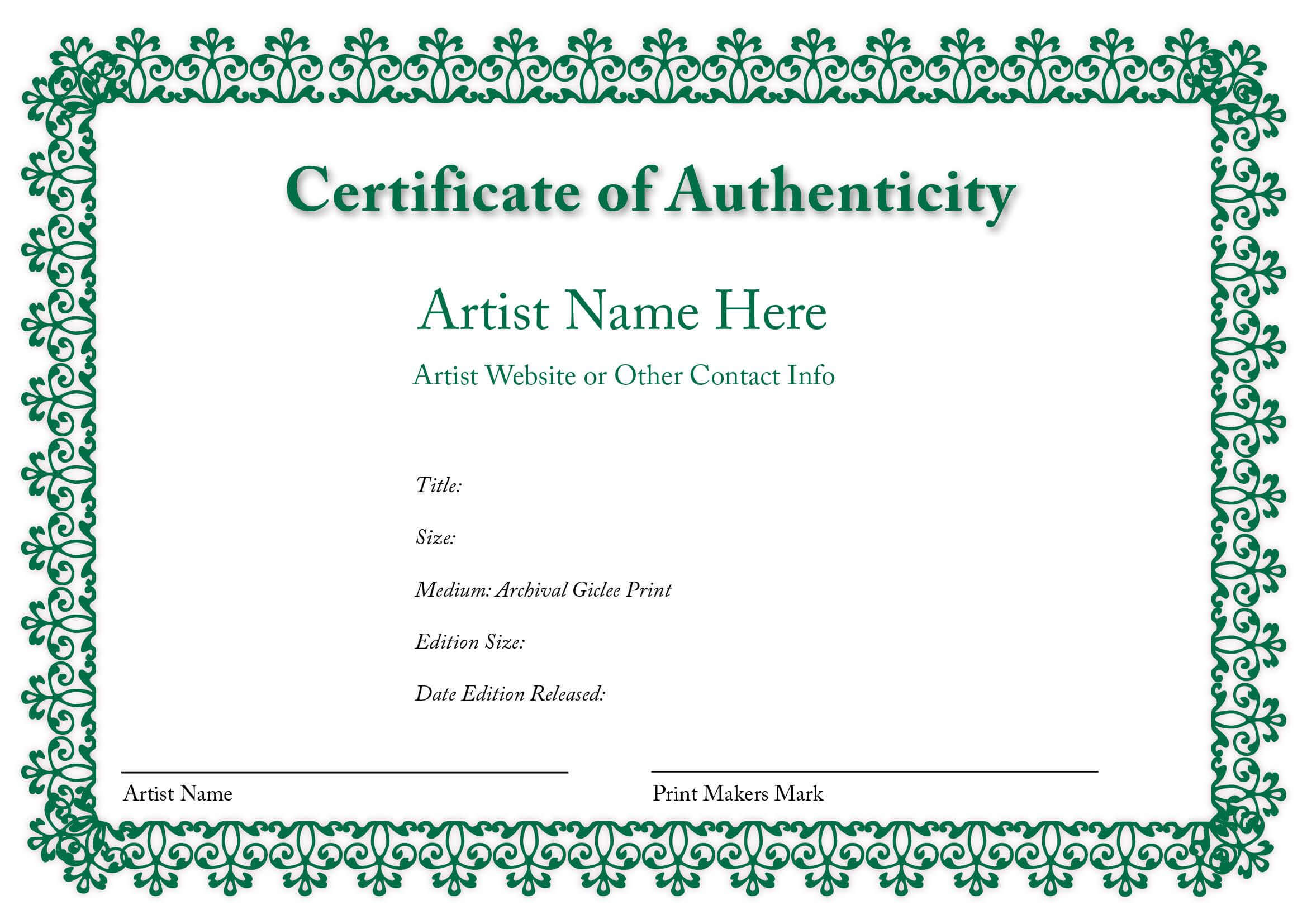 Certificate Of Authenticity Of An Art Print | Certificate Throughout Certificate Of Authenticity Template