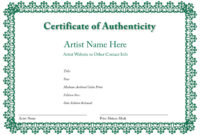 Certificate Of Authenticity Of An Art Print | Certificate with Build A Bear Birth Certificate Template