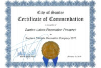 Certificate Of Commendation From The City Of Santee | Santee within Recognition Of Service Certificate Template