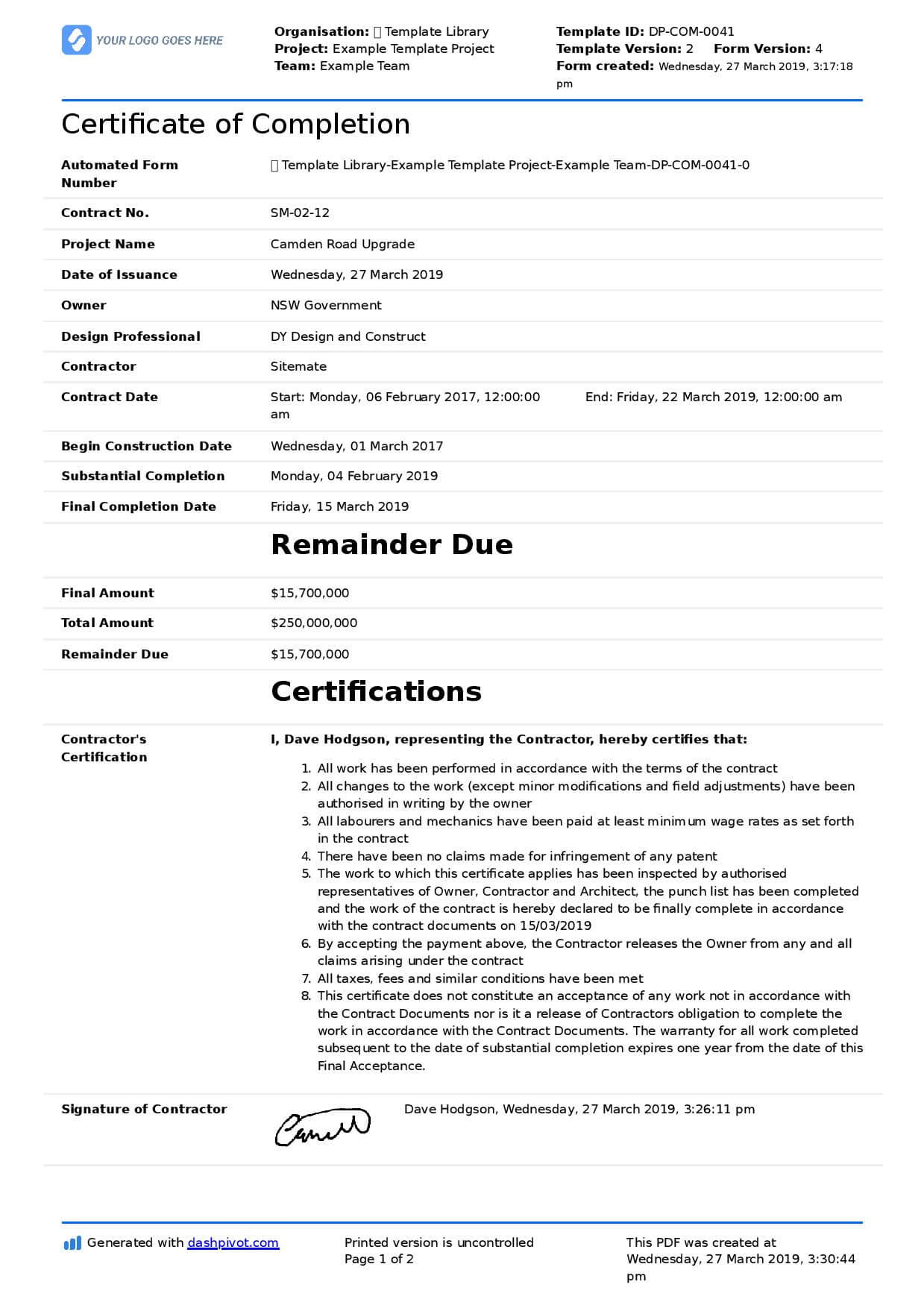 Certificate Of Completion For Construction (Free Template + With Certificate Of Completion Construction Templates