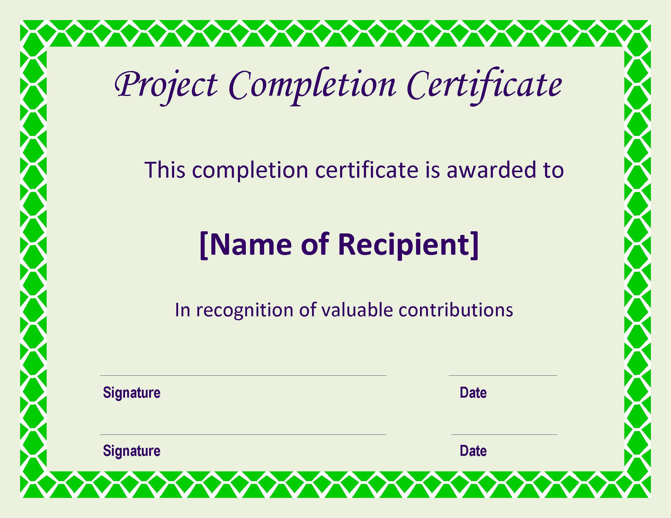 Certificate Of Completion Project | Templates At In Certificate Template For Project Completion