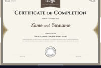 Certificate Of Completion Template In Brown in Certification Of Completion Template