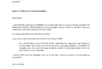 Certificate Of Corporate Resolution | Templates At within Corporate Secretary Certificate Template