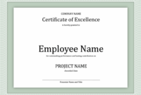 Certificate Of Excellence For Employee | Certificate inside Employee Of The Year Certificate Template Free