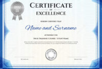 Certificate Of Excellence In Vector Stock Vector in Free Certificate Of Excellence Template